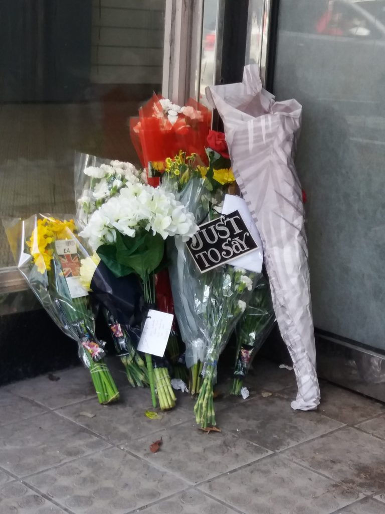 Flowers left for my friend by caring Community of Stirling #RIPDamian