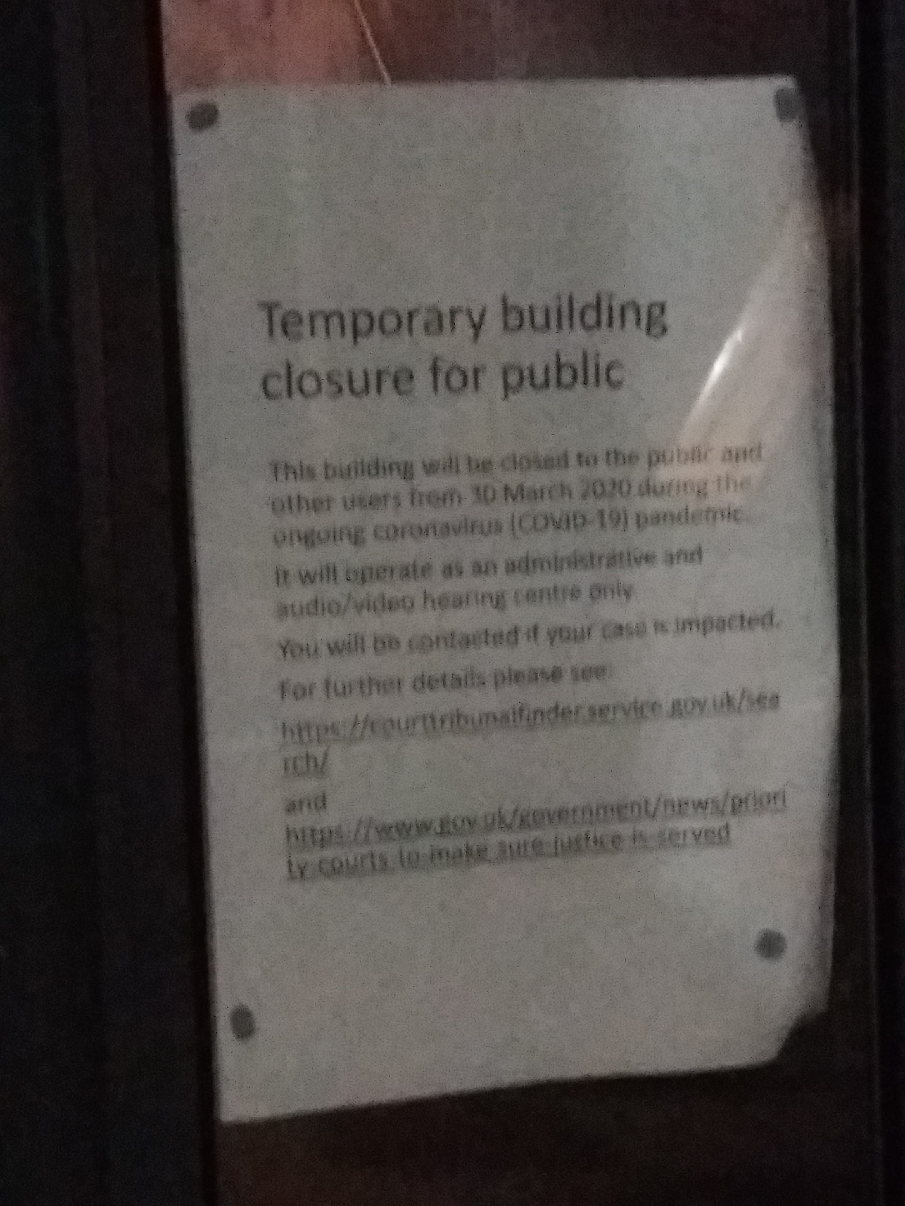 Courts and tribunal service at Victory House CLOSED