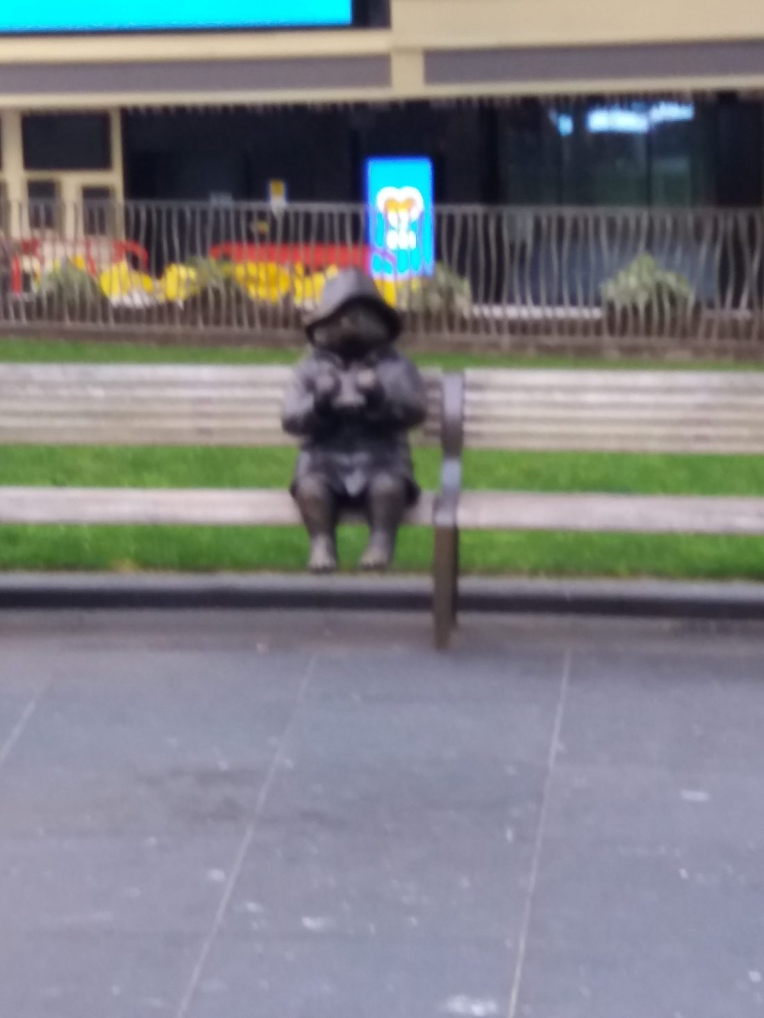The reason why. Statue of Paddington alone on a bench. Is he really a bear?